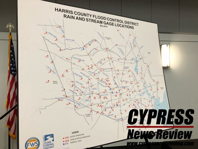 A map showing planned projects and watersheds during the Harris County Flood Control District bond election process at the Weekley Community Center July 31, 2018. (Cypress News Review photo by Creighton Holub)