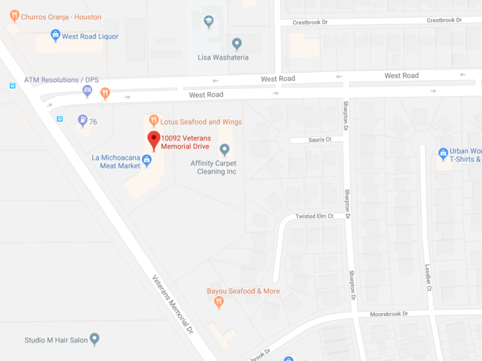 The location of an armed robbery this morning around 9:30 a.m. at La Michoacana Meat Market at 10092 Vets Memorial. (Google Maps)