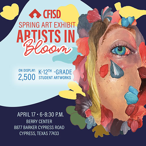 Cypress Springs High School junior Damaris Haro used artwork by Langham Creek High School senior Tatyana Luna Hawks to create the design that will be used to promote the Spring Art Exhibit, which is set for April 17 at the Berry Center. (CFISD courtesy image)