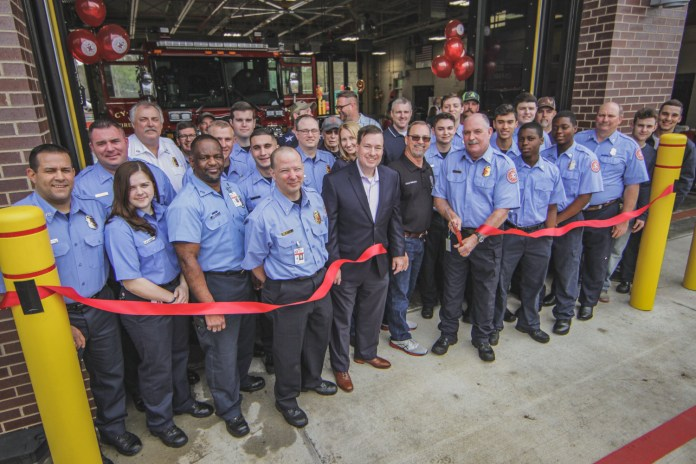 Cy-Fair Volunteer Fire Department firefighters and community leaders cut the ribbon to open the newly built CFVFD Station #9 at  7188 Cherry Park Dr., March 2, 2019. #cyfairvfd #station9 #grandopening (Photo: Lt, Daniel Arizpe, PIO / Cy-Fair VFD)