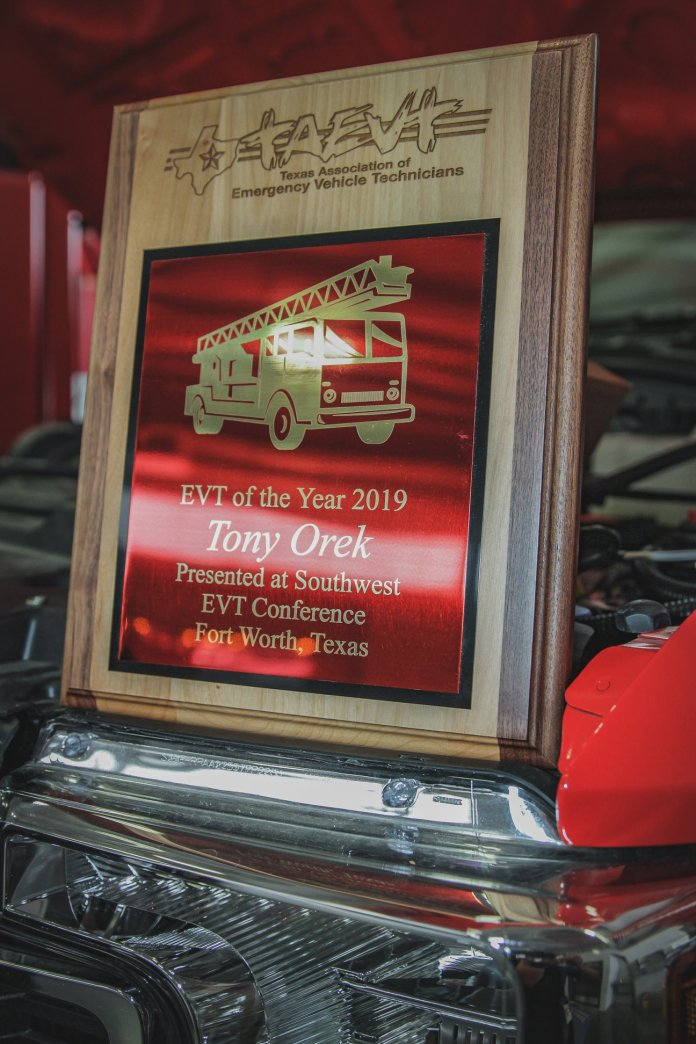 Cy-Fair VFD Vehicle Maintenance Supervisor, Tony Orek, was awarded 2019 EVT of the year by the Texas Association of Emergency Vehicle Technicians at the 20th Annual Southwest EVT Conference in Fort Worth, Texas on March 20, 2019. (Photo: Lt. Daniel Arizpe, PIO / Cy-Fair VFD)