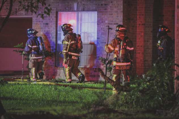 Cy-Fair VFD units respond to a structure fire in the 10200 block of Crooks Way Court in the Steeple Chase Subdivision in Houston, TX just after 4 a.m. on April 18, 2019. (CFVFD photo by Lt. Daniel Arizpe, PIO)