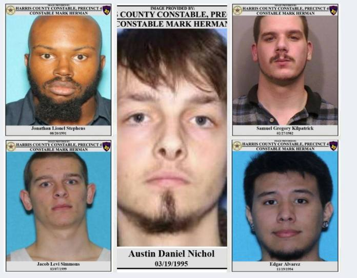 The Precinct 4 Constable's Office is looking for Edgar Alvarez, Samuel Gregory Kilpatrick, Jacob Levi Simmons, Jonathan Lionel Stephens, and Austin Daniel Nichols. If you know of their whereabouts, please contact your local law enforcement agency. (Pct. 4 Constable courtesy photo)