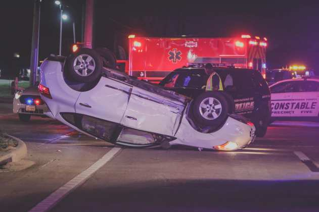 Cy-Fair VFD Fire and EMS crews respond to a major accident with rollover involving a Cypress-Fairbanks ISD Police Department unit at the intersection of FM 529 and Greenhouse Rd. on Saturday, April 27th, 2019. (CFVFD courtesy photo by Lt. Daniel Arizpe, PIO)