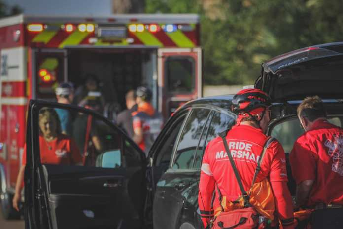 Cy-Fair VFD Special Event Medic Crew and race officials respond to a medical emergency involving a cyclist on the BP MS 150 course yesterday morning in Katy on Saturday, April 27th, 2019. (CFVFD courtesy photo by Lt. Daniel Arizpe, PIO)
