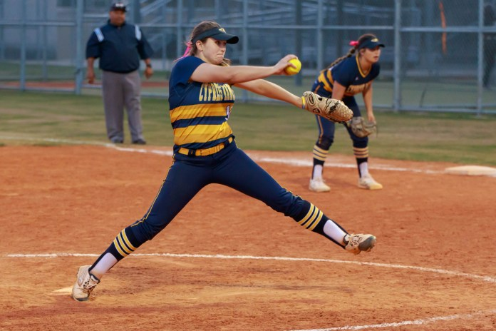 Cy Ranch softball players defeat Cy Park during a district game, 11-0, April 2, 2019. (photo courtesy Greg Andrews)