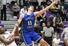 Cypress Creek High School junior Nate Martin (No. 11) was among the 27 boys' basketball players named to the Academic All-District 17-6A team. (CFISD courtesy photo)