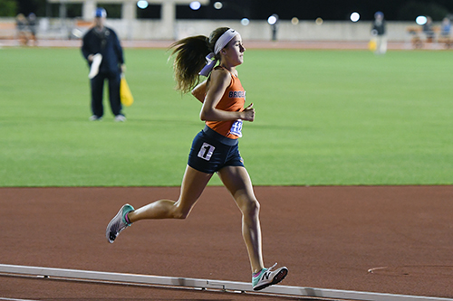 CFISD HS #12 High School freshman Cassidy Graham starts her third lap around the Mike A. Myers Stadium track during the girls' 1,600-meter run at the UIL State Track and Field Meet. Graham placed seventh with a time of 4:57.13. (CFISD courtesy photo)
