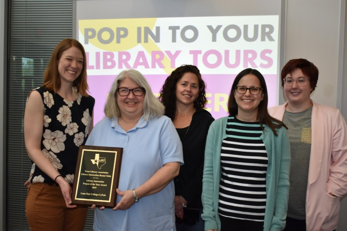 Lone Star College-CyFair's Pop In To Your Library program was recognized with the Library Instruction Project of the Year Award. From left are Jane Stimpson, reference librarian; Susan Green, library director; Rose Botkin, instruction librarian: Rachel Evans, reference librarian and Rachel Hugenberg, reference librarian. (LSC courtesy photo)
