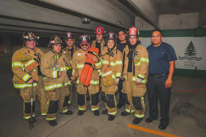 Cy-Fair Fire Station 6 members train on high-rise operations in the HCA Houston Healthcare North Cypress parking garage in Cypress on June 27, 2019. Firefighters trained and practiced skills needed to safely and effectively fight fire in a multi-story high-rise building. (CFVFD PIO photo by Lt. Daniel Arizpe)