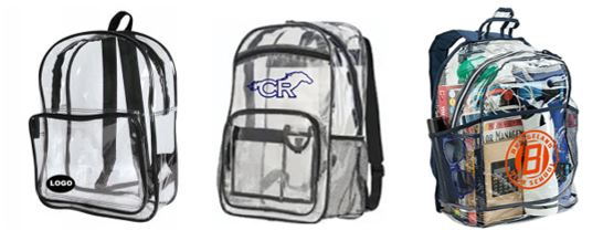 Examples of allowed clear plastic backpacks within Cypress-Fairbanks ISD for 6th grade and older students. (CFISD image)
