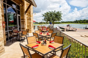 The Union Kitchen at the Boardwalk at Towne Lake lakefront view.