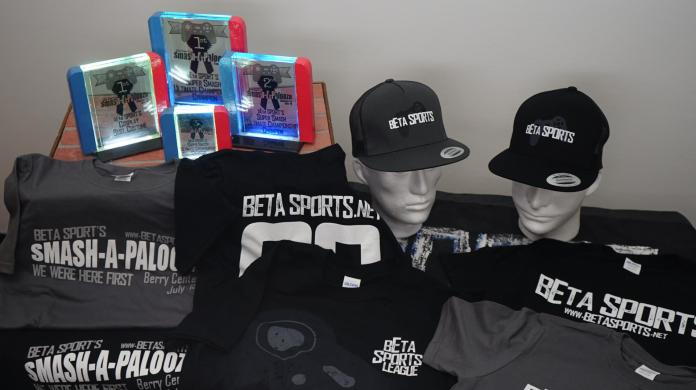 "A sample of the ""merch"" available to Tier 3 competitors at the Smash-a-palooza tournament and cosplay competition at the Berry Center July 27, 2019. (courtesy bEta Sports)"