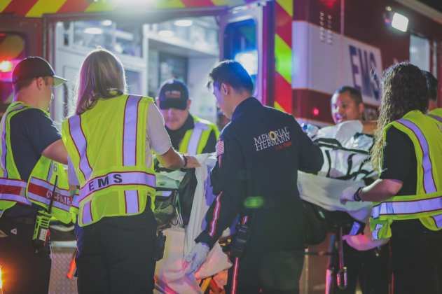 Cy-Fair Volunteer Fire Deparment EMS crews and Memorial Hermann Life Flight assist Harris County Constable Precinct 4 with a motor vehicle accident at the intersection of the Northwest Freeway and Hempstead Road in Cypress Sunday night. (CFVFD PIO photo by Lt. Daniel Arizpe)