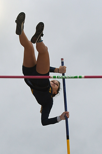 Cypress Ranch High School senior Hannah Miller clears the crossbar during the girls' pole vault competition at the UIL State Track and Field Meet. Miller finished third with a vault of 12-6, improving four spots from her first state appearance in 2018. (CFISD courtesy photo)