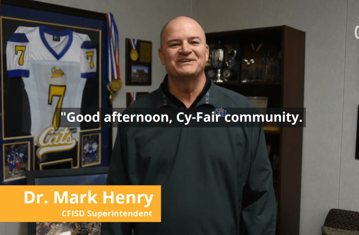Dr. Mark Henry, Ed.D. Cy-Fair ISD superintendent, explains how CFISD will move forward in the current medical crisis. (screenshot)