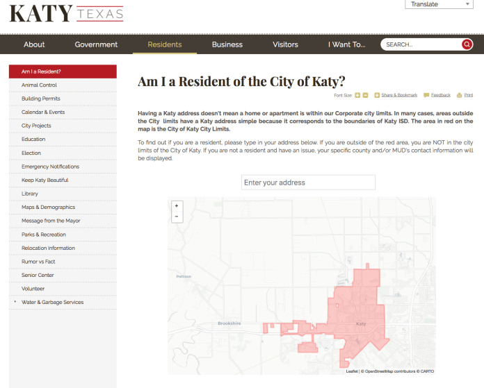 Click to visit the City of Katy website. (Screen shot)