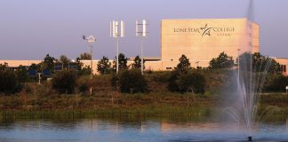 Lone Star College - CyFair's fountain wind turbines in Cypress, Texas. (LSC courtesy photo)
