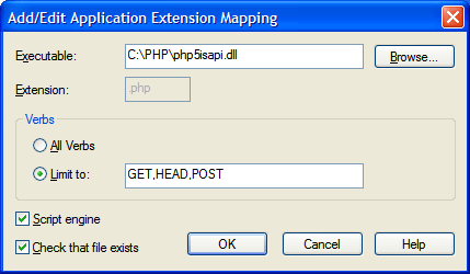 Add/Edit Application Extension Mapping