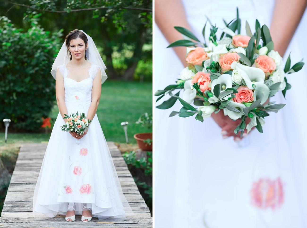 Photo de la mariée lors de son mariage champêtre au Domaine du Moulin des Planches