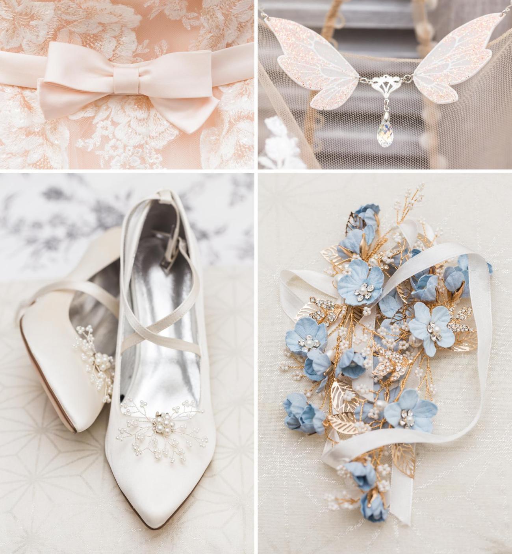 Détails des bijoux et chaussures de la mariée