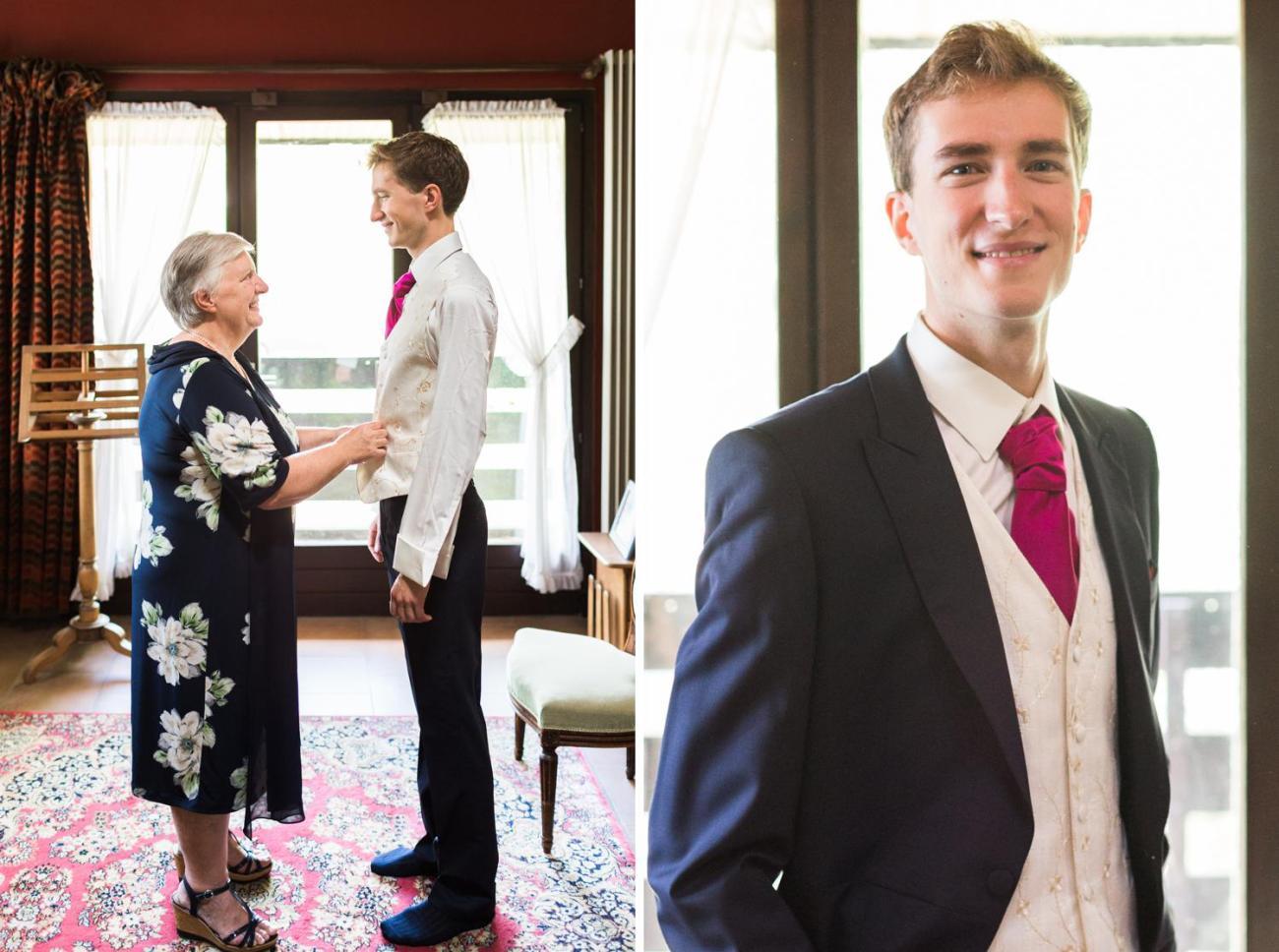 Préparatifs du marié en présence de sa mère qui l'aide à s'habiller