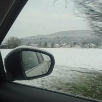 Citroen boční zrcátko ve sněhu
