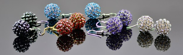 Crystal mesh ball earrings