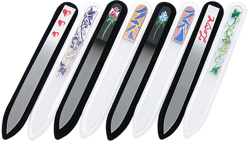 Hand painted glass nail files