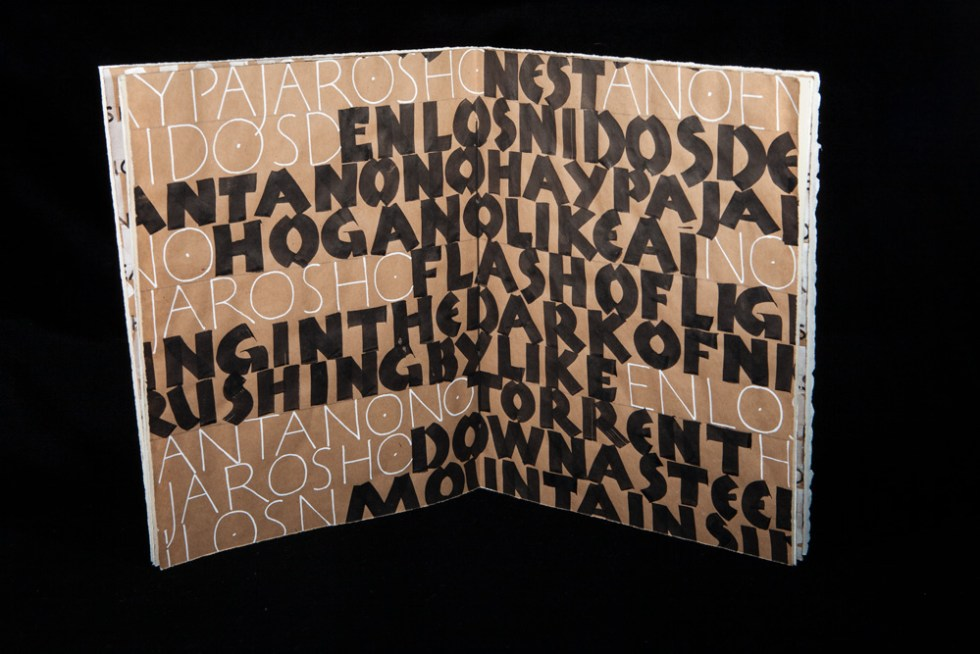 Roman capitals and Neuland capitals, written in white and sumi inks.
