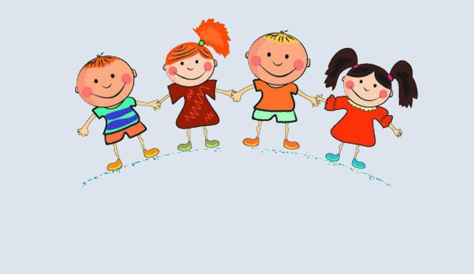 Crtež dvije djevojčice i dva dječaka koji se naizmjenično drže za ruke