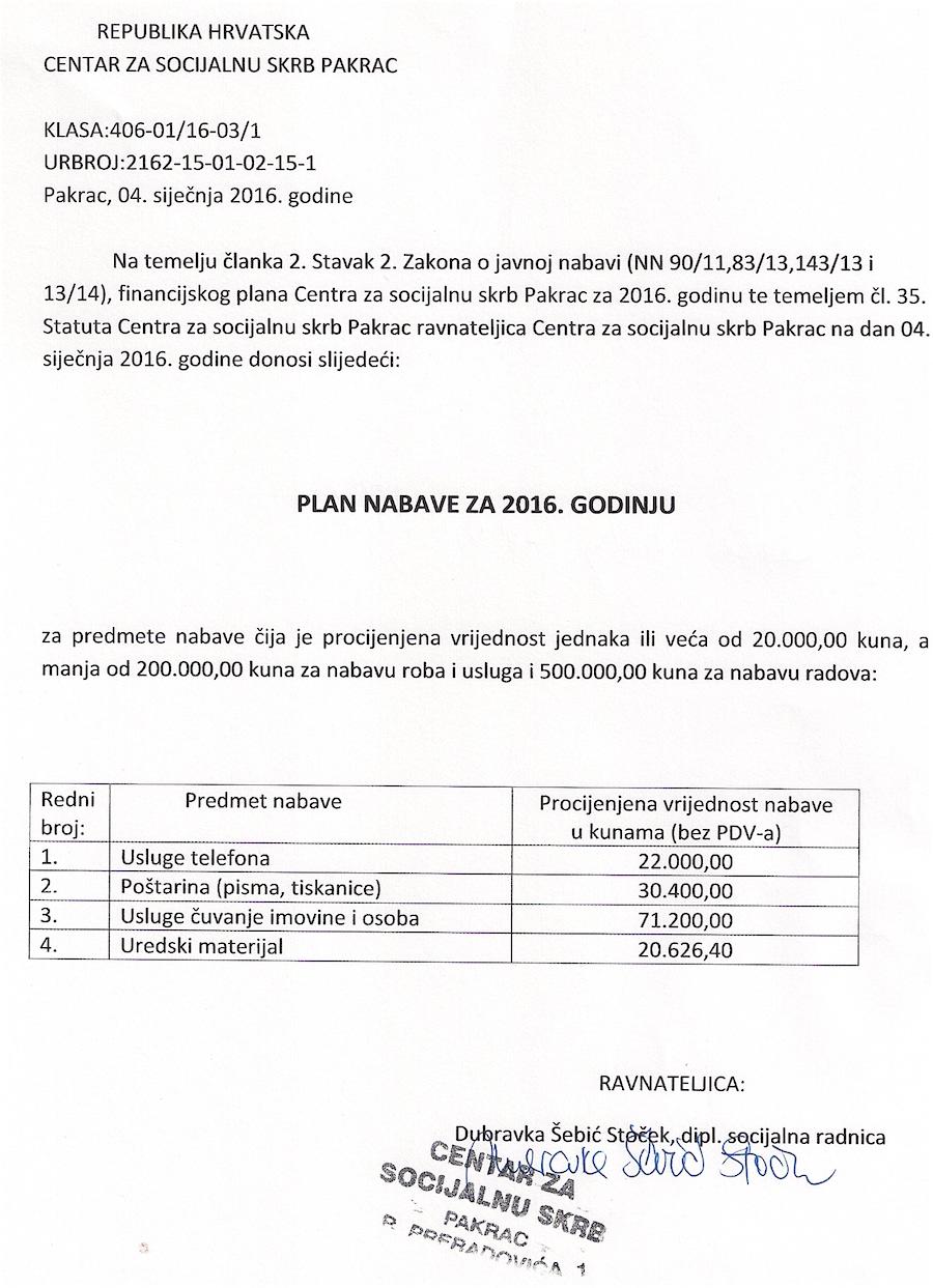 plan nabave Centra za socijalnu skrb Pakrac za 2016. godinu