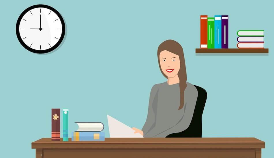 Crtež poslovne žene za pisaćim stolom u uredu - dekoracija javnog natječaja