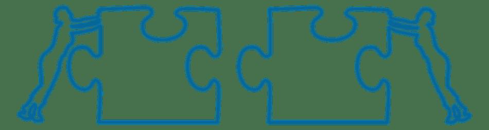 Dva crtana lika zajedničkim snagama pokušavaju spojiti dva puzzle elementa
