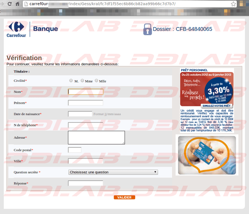 pagina clone Carrefour Banque