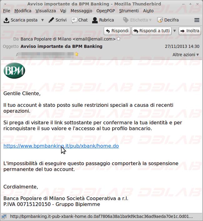 mail fraudolenta