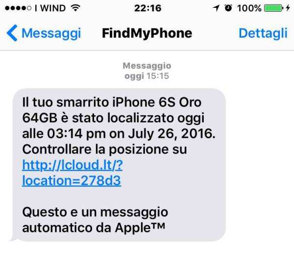 SMS Phishing Apple