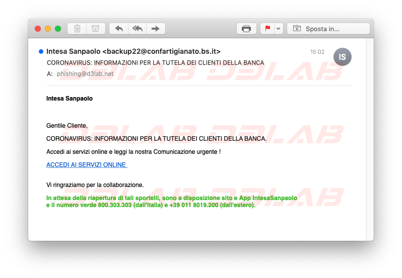 Phishing Intesa San Paolo CoronaVirus