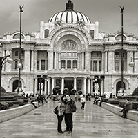 Black and white photo of the Palacio de Bellas Artes, Mexico City.