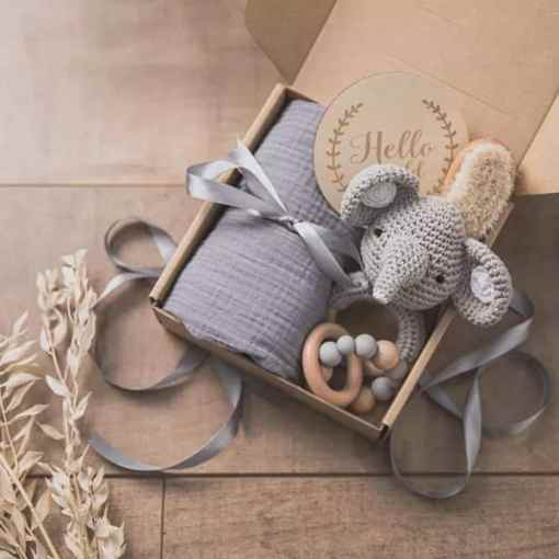 babygeschenk set elefant grau dablessings