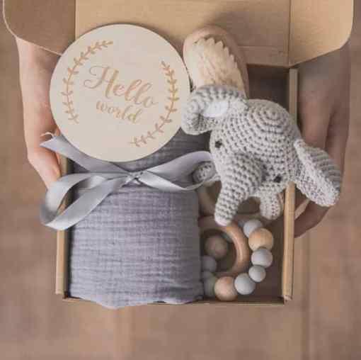 babygeschenk set elefant grau