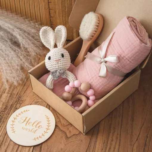 babygeschenk set hase rosa Set1