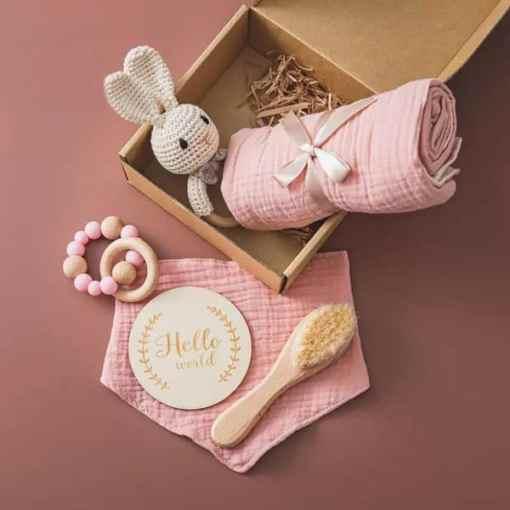 babygeschenk set hase rosa Set2