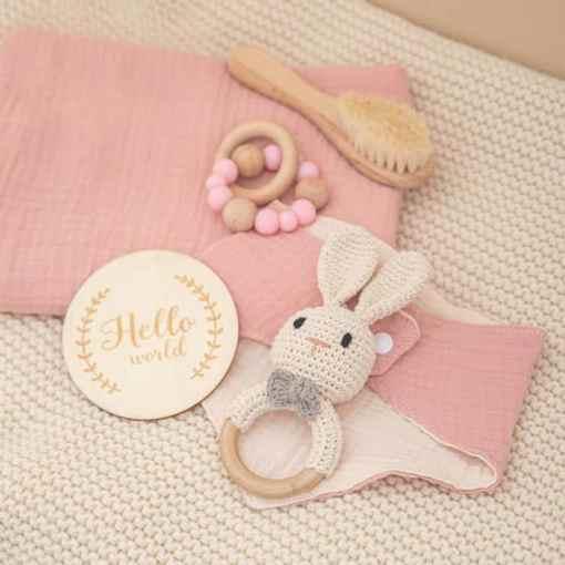 babygeschenk set hase rosa Set3
