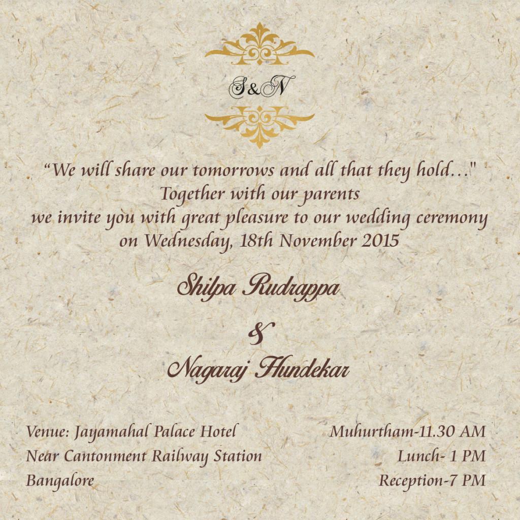 Shilpa's Wedding Invitation