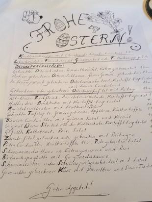 Handgeschriebenes Ostermenü im Schosztarich