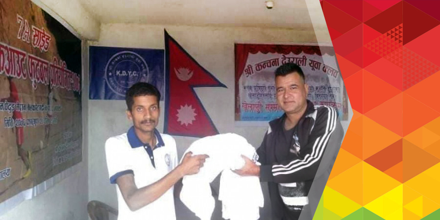 football jersey handover to kanchana deurali youth club deurali belakotgadhi nuwakot