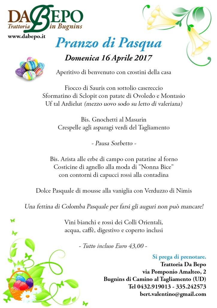 Pasqua Da Bepo 2017 Menu 724x1024 Menù del pranzo di Pasqua 2017
