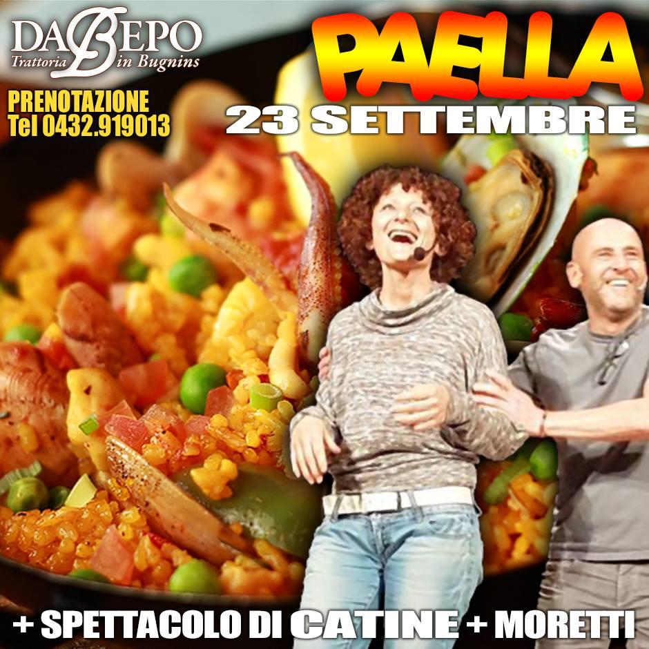 21462469 1451950614858178 3062968308081502580 n 23 Settembre 2017: Spettacolo di Catine e Moretti, serata Paella Trattoria Da Bepo